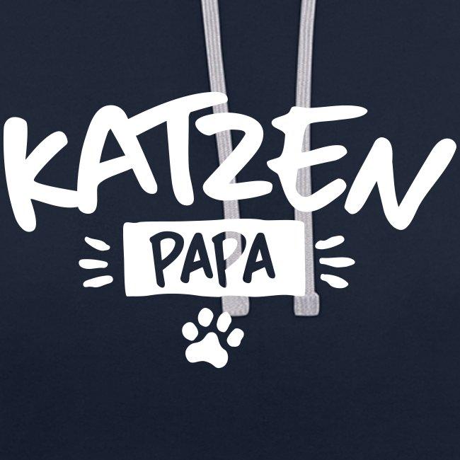 Vorschau: Katzen Papa - Kontrast-Hoodie