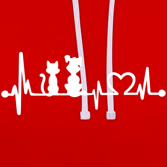 Vorschau: dog cat heartbeat - Kontrast-Hoodie