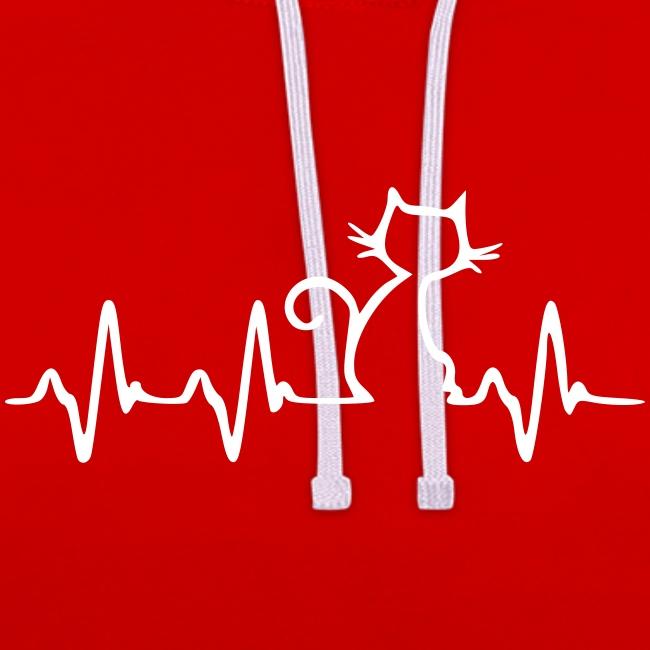 Vorschau: Cat Heartbeat - Kontrast-Hoodie