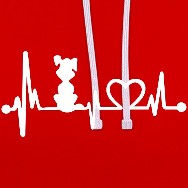 Vorschau: dog heart beat - Kontrast-Hoodie