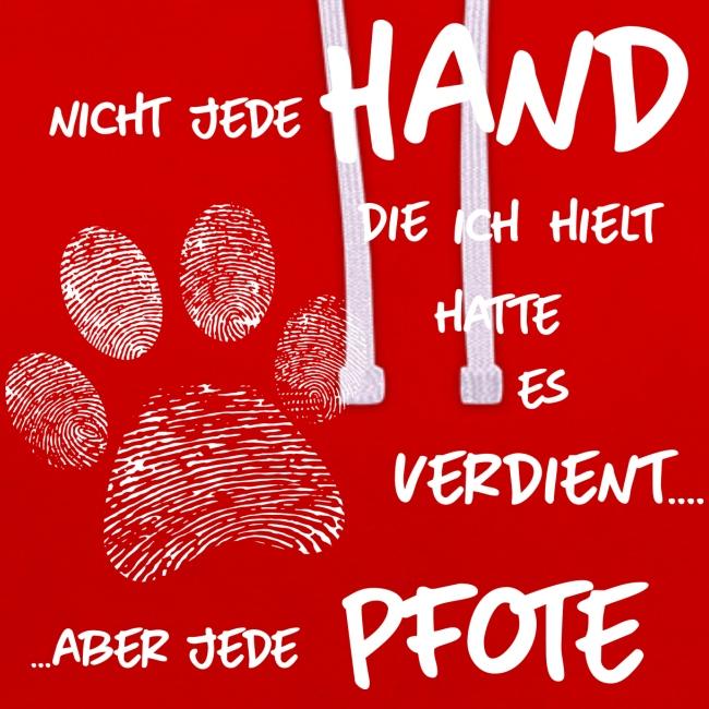 Vorschau: Hand Pfote Hund - Kontrast-Hoodie