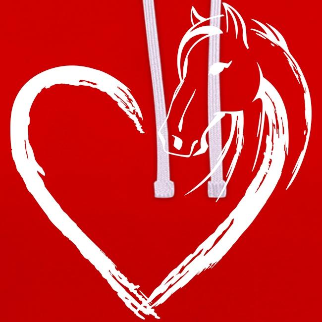 Vorschau: Pferde Herz - Kontrast-Hoodie