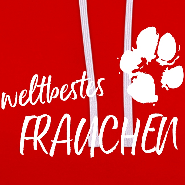Vorschau: weltbestes Frauchen Pfote Hund - Kontrast-Hoodie