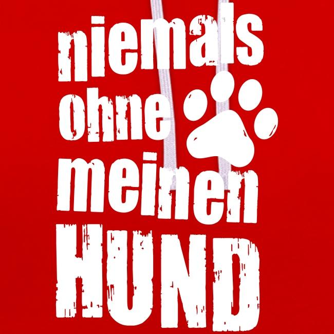 Vorschau: niemals ohne meinen hund - Kontrast-Hoodie