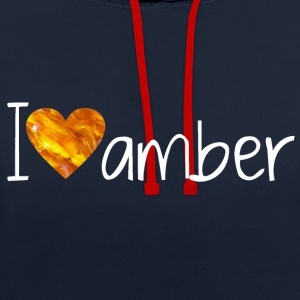 I Love amber - Contrast Colour Hoodie