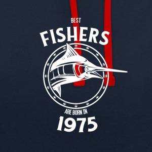 Present for fishers born in 1975 - Contrast Colour Hoodie