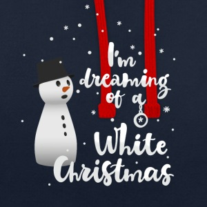 white_christmas Snowman Winter Flakes - Contrast Colour Hoodie