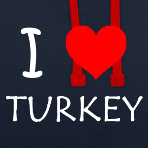 I Love Turkey - Contrast Colour Hoodie