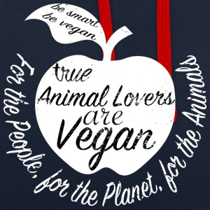 Veganshirt - proud animal lovers and vegans - Contrast Colour Hoodie
