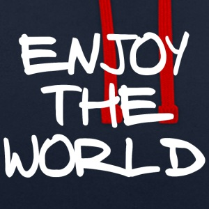 ENJOY THE WORLD - Contrast Colour Hoodie