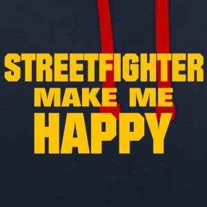 Streetfighter Make Me Happy - Contrast Colour Hoodie