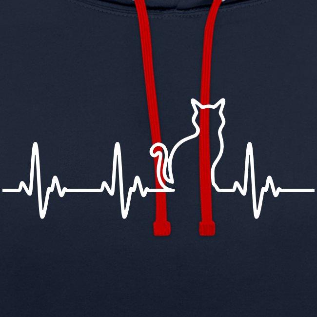 Vorschau: Ein Herz für Katzen - Kontrast-Hoodie