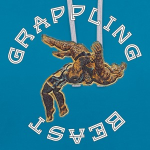 GRAPPLING BEAST (APE VS JAGUAR) NAVY - Contrast Colour Hoodie