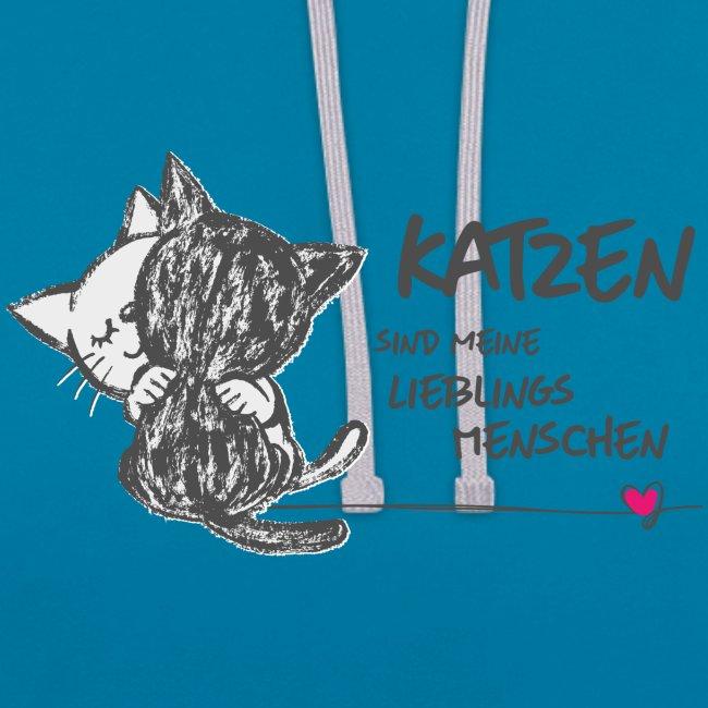 Vorschau: Katzen Lieblingsmenschen - Kontrast-Hoodie