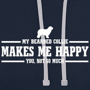 BEARDED COLLIE makes me happy - Contrast Colour Hoodie