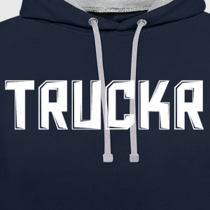 White print with no background TRUCKR - Contrast Colour Hoodie