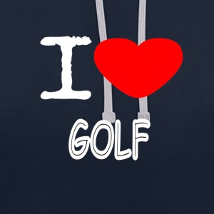 I LOVE GOLF - Contrast Colour Hoodie