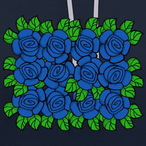 Blue Roses (Transparant) - Contrast hoodie