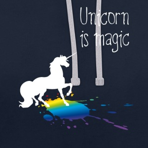 unicorn unicorn magic rainbow stain funny girl - Contrast Colour Hoodie