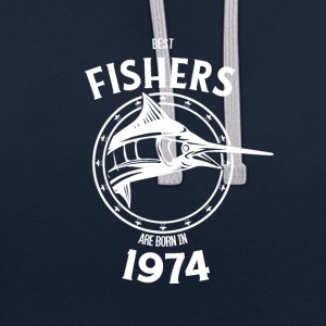 Present for fishers born in 1974 - Contrast Colour Hoodie
