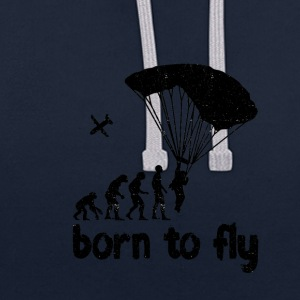 Evolution Skydiving - born to fly - Contrast Colour Hoodie