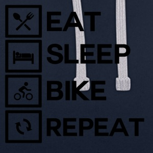 Bike Rythm - Eat Sleep Bike Repeat - Kontrast-Hoodie