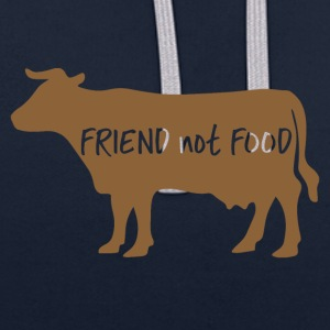 Veggie / Vegan: Friend not food - Contrast Colour Hoodie