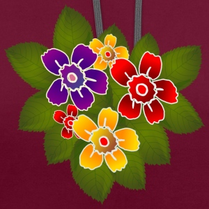 flowers - Contrast Colour Hoodie