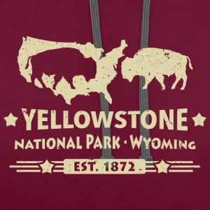 Buffalo Bison Buffalo Yellowstone National Park USA - Contrast Colour Hoodie