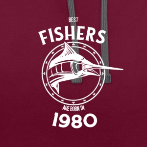 Present for fishers born in 1980 - Contrast Colour Hoodie
