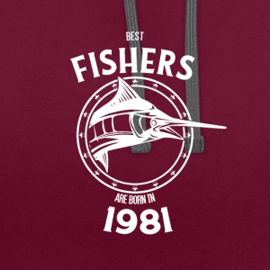 Present for fishers born in 1981 - Contrast Colour Hoodie
