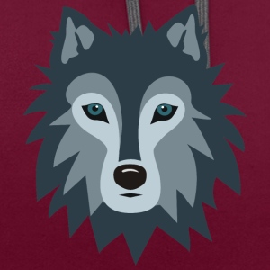 Wolf - Contrast Colour Hoodie