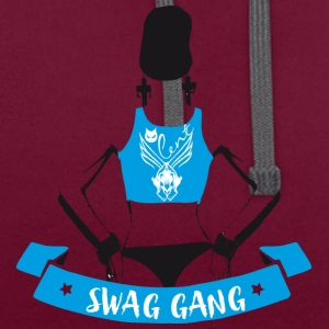 swag gang rap sexy woman back tatoo gangster grafi - Contrast Colour Hoodie