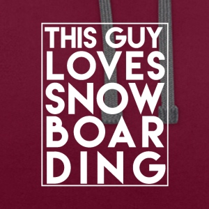This Guy Loves Snowboarding - Boarder Power! - Contrast Colour Hoodie