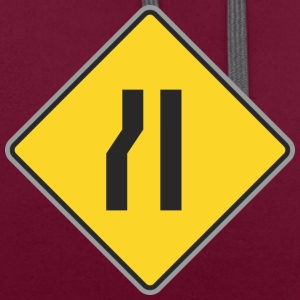 Road Sign right and curve ways right yellow - Contrast Colour Hoodie