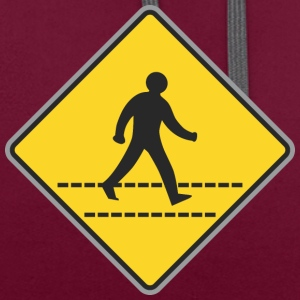 Road Sign walking man yellow - Contrast Colour Hoodie