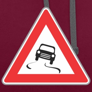 Road sign slippy way red - Contrast Colour Hoodie