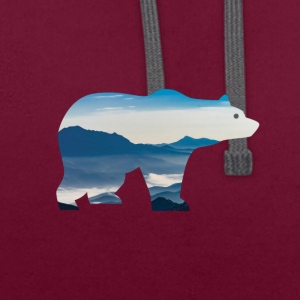 Bear in mountains - Contrast Colour Hoodie