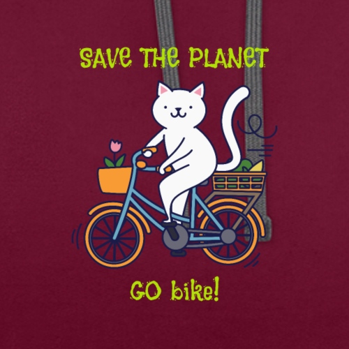 Caring About Climate? Save The Planet Go Bike! - Contrast Colour Hoodie