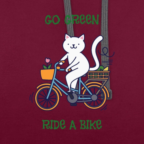 Caring About Climate Change? Go Green Ride A Bike - Contrast Colour Hoodie