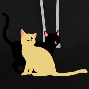 2 cats - Contrast Colour Hoodie