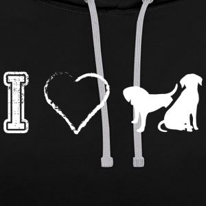 I love dog dogs Dog Dogs - Contrast Colour Hoodie