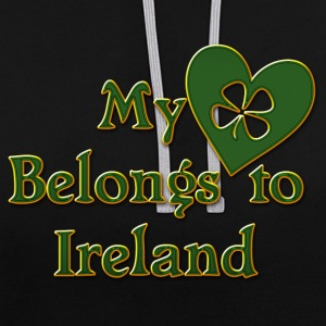 Irish My Heart Belongs To Ireland - Contrast Colour Hoodie
