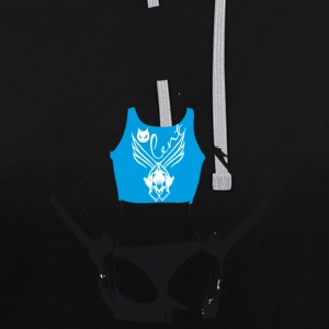 swag woman blue back rapping gangster naked tatoo stre - Contrast Colour Hoodie