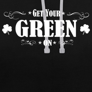 ST PATRICK'S DAY IRISH GREEN ON - Contrast Colour Hoodie
