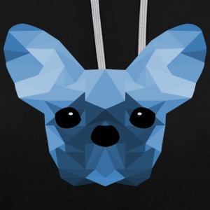 Bouledogue français Low Poly design bleu - Sweat-shirt contraste