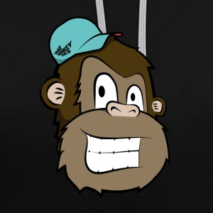 Cartoon Monkey - Contrast Colour Hoodie
