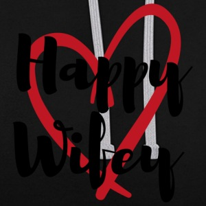 Happy Wifey - Contrast Colour Hoodie