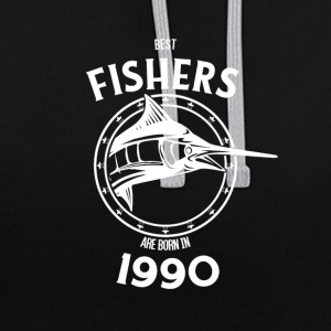 Present for fishers born in 1990 - Contrast Colour Hoodie