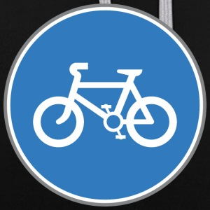 Road sign bicycle blue - Contrast Colour Hoodie